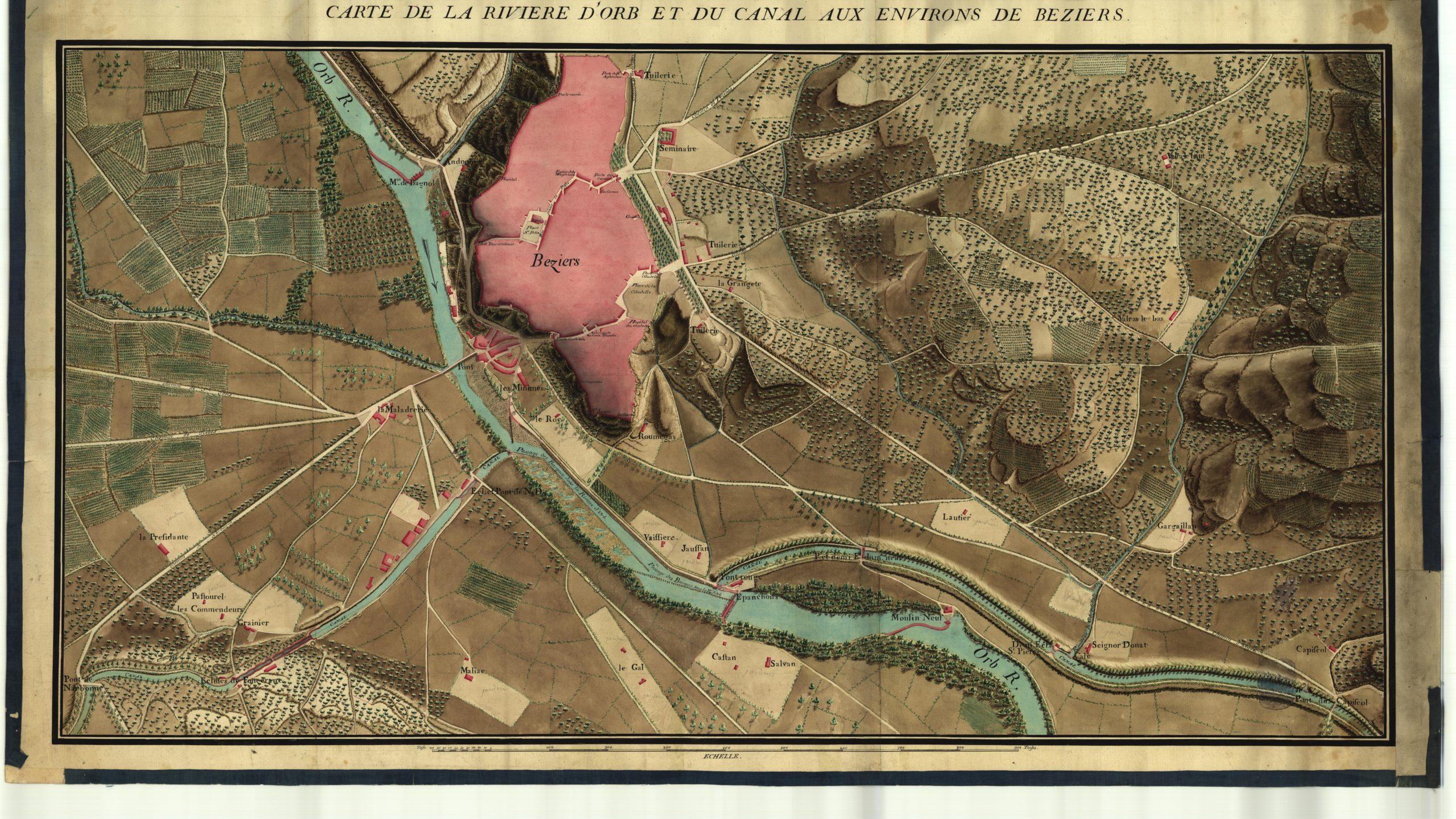 La difficile traversée de l'Orb avant la construction du pont-canal.